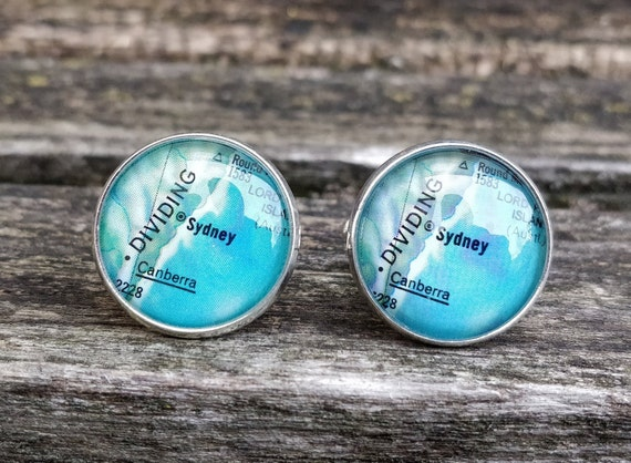 Vintage Sydney Map Cufflinks. Gift, Wedding, Groom, Birthday, Custom Orders Welcome. Australia, Aussie