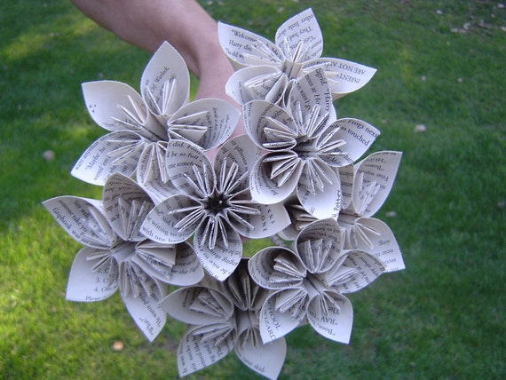 BOOK Origami Paper Flower Bouquet. Custom Orders Welcome. First Anniversary, Home Decoration.