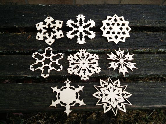 Snowflake Ornaments, Set of 8. Laser Cut Wood. Christmas, Holiday Decoration, Gift. Mom, Dad.
