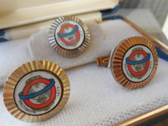 Vintage Baltimore Fire Chief Association Cufflinks & Lapel Pin. Fire Fighter Gift, Groomsmen, Wedding, Dad Gift.