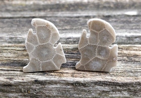 Petoskey Stone MICHIGAN Cufflinks. Fossilized Coral. Wedding, Men's Christmas Gift, Dad, Anniversary Gift.Lower Penninsula