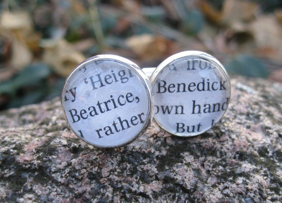 Much Ado About Nothing, Beatrice & Benedick Cufflinks. Shakespeare. Wedding, Groom, Christmas Gift, Dad.