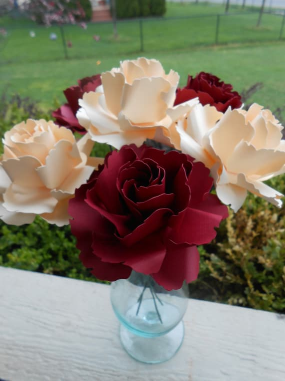 Cream & Red Wild Roses, Half Dozen. Other Colors Available. Centerpiece, Wedding, Paper Flower Bouquet