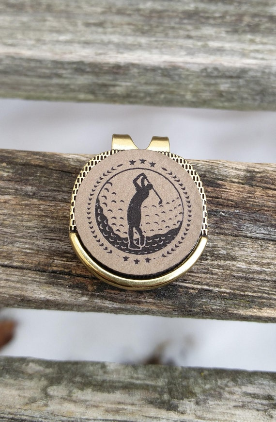 Personalized Golf Marker. Engraved Leather. Wedding, Groom, Groomsmen Gift, Dad. Anniversary, Birthday, Groom, Valentine, Father's Day