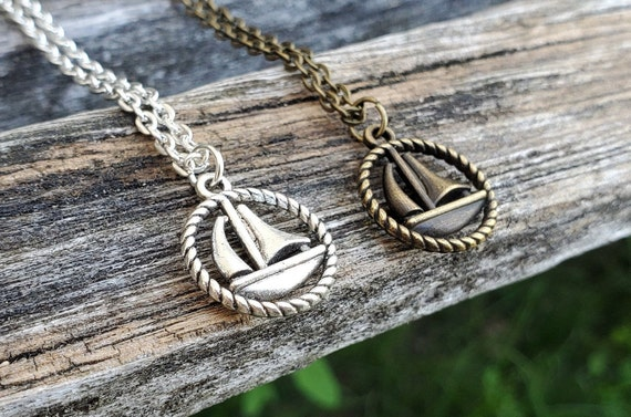 Sailboat Necklace. Gift For Mom, Dad, Kids, Anniversary, Birthday, Christmas.
