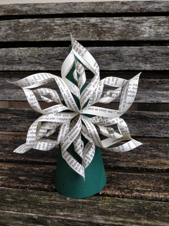 Christmas Carol Book Tree Topper. Or CHOOSE Your BOOK Or COLORS. Twisted Star, Rustic Decoration, Holiday. Dickens.