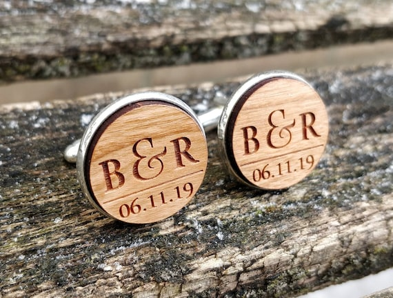 Personalized Cufflinks. Wedding, Groom Gift, Anniversary, Birthday. Silver, Monogram, Date, His Hers, Groomsmen