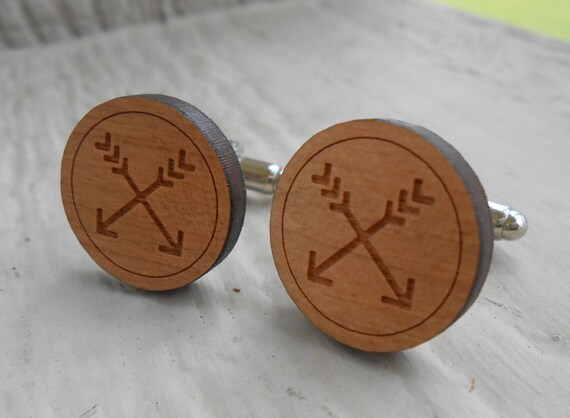Wood Arrow Cufflinks. Wedding, Men's, Groomsmen Gift, Dad. Silver Plated. Custom Orders Welcome.