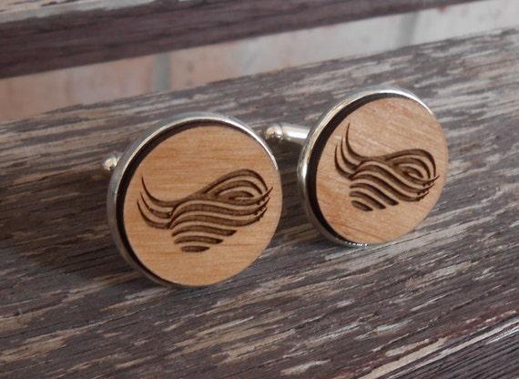 Abstract Cufflinks, Tie Clip. Laser Engraved Wood. Wedding, Anniversary, Groomsmen Gift, Dad, Groom, Birthday. Wave, Wavy
