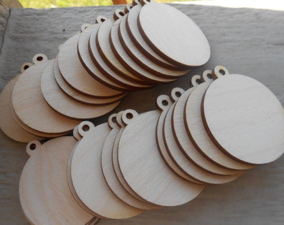 "100 Wood Ornament Tags. Pendant Circles, CHOOSE YOUR SIZE. D.I.Y Christmas Ornaments. 1/8"" Thick, Laser Cut. Custom Orders Welcome."