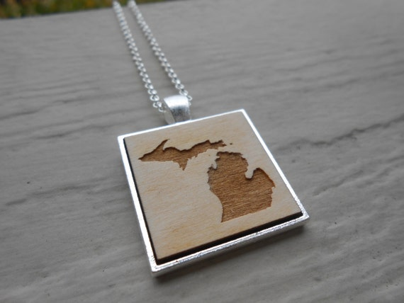Wood State Necklace. CHOOSE YOUR STATE. Laser Engraved. Wedding, Men, Women, Bridesmaid Gift. Custom Orders Welcome. Map