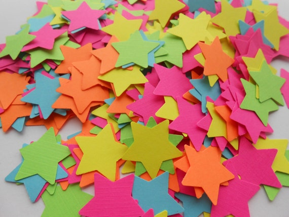 500 NEON Star Confetti. CHOOSE Your COLORS. 1 inch. Custom Orders Welcome.