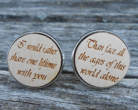 I Would Rather Share One Lifetime Cufflinks. Engraved. Wedding, Groom Gift, Anniversary. Birthday, Christmas, Valentine's