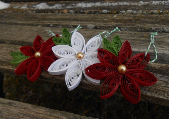 Quilled Poinsettia Christmas Ornaments. SET of THREE. Paper Ornament. Gift For Mom, Dad. Tree Decoration