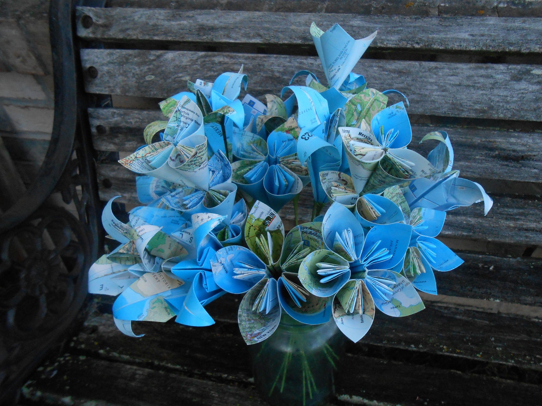 Vintage Map Paper Flower Bouquet Origami Paper Flowers Wedding