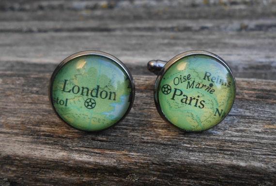 Vintage MAP Cufflinks, London & Paris. Wedding, Gift, Groom, Groomsmen, Anniversary, Birthday, Christmas.