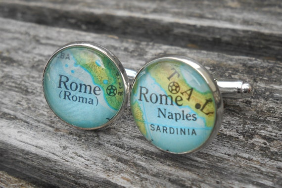 Vintage Map ROME Cufflinks. Wedding, Men's Christmas Gift, Dad. Silver Plated. Custom Orders Welcome.