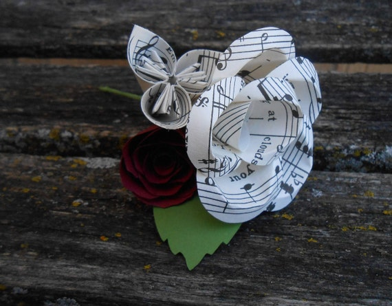 Sheet Music Boutonnieres.  CHOOSE YOUR COLOR. Any Amount. Custom Orders Welcome. Groom, Groomsmen, Best Man, Bridesman. Ring Bearer