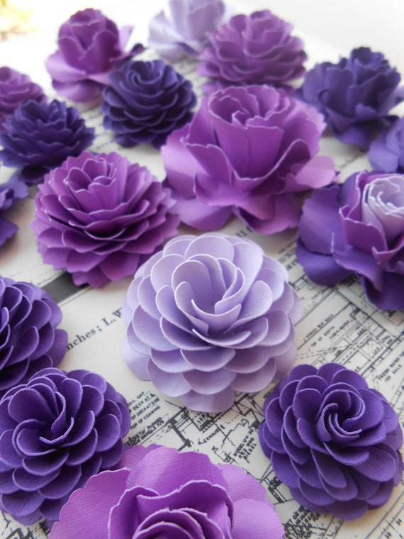 10 Paper Flowers, Cake Decorations, Favors. CHOOSE YOUR COLORS. Weddings, Showers, Events, Parties