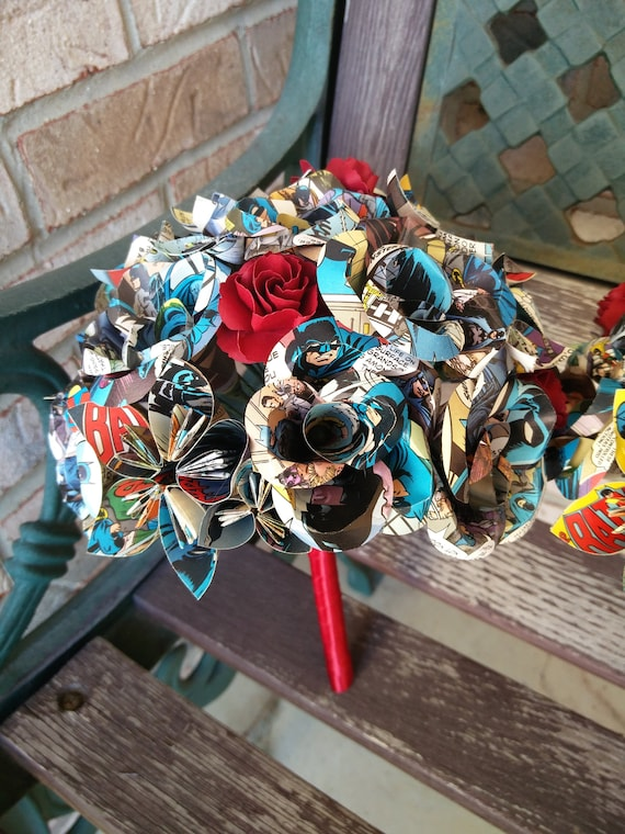 Paper Flower Girl Bouquet, Mini Size. YOU CHOOSE The Colors, Papers, Books, Etc.  Anything Is Possible. Wedding, Toss