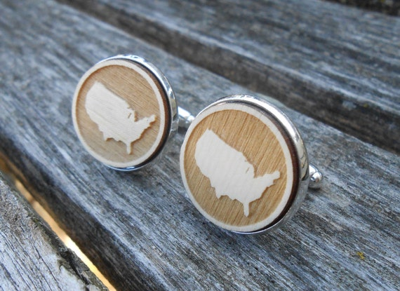 UNITED STATES Wood Cufflinks. Laser Engraved. Wedding, Men's, Groomsmen Gift, Dad. Custom Orders Welcome. Map, Country, USA