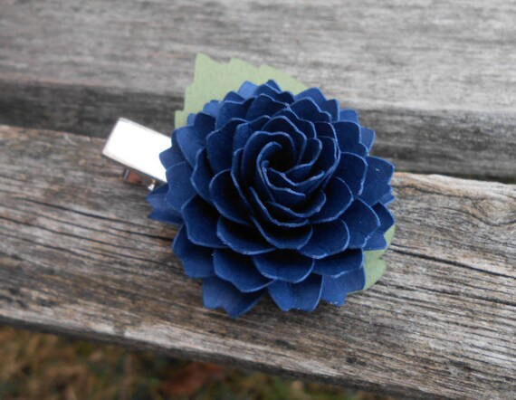 Custom Dahlia Hair Piece. Choose Your Color!! Flower Girl, Bridal, Bridesmaid. Wedding Hair Accessories. Tiara, Barrette, Navy