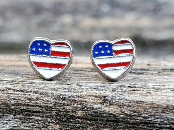 Heart Flag Earrings. USA Flag. Wedding Gift, Bridesmaid Gift, Gift For Mom, Anniversary Gift. Post Earrings