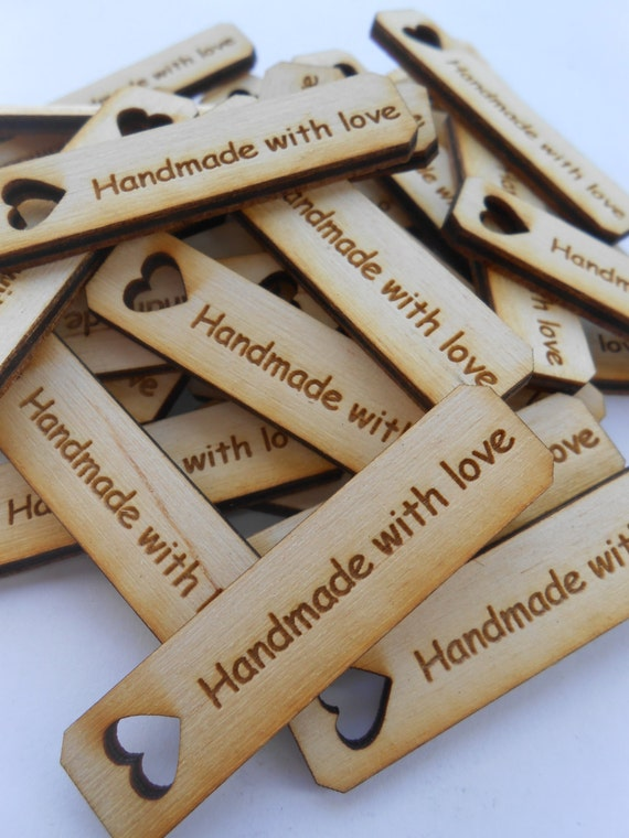 "50 ""Handmade With Love"" Tags, Laser Cut Wood. 1.5 Inch. Custom Orders Welcome."