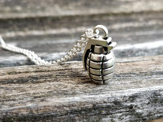 Grenade Necklace. Birthday Gift, Military Gift, Gift For Her, Gift For Him.