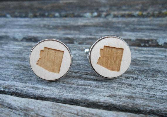 Wood STATE Cufflinks. ARIZONA. Laser Engraved. Wedding, Men's, Groomsmen Gift, Dad. Custom Orders Welcome. Phoenix