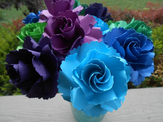 12 Wild Roses. CHOOSE YOUR COLORS. Centerpiece, Wedding, Paper Flower Bouquet, First Anniversary