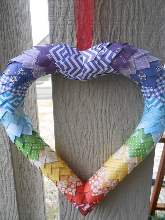 Rainbow Heart Wreath, Paper Decoration. Christmas, Home Decor, Gift, Mom, Wife. Custom Orders WELCOME