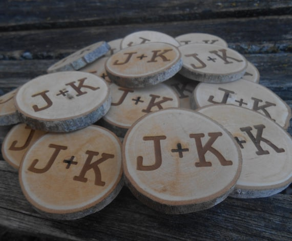 50 PERSONALIZED Initials Wood Rounds. Laser Cut, Rustic Wedding Vase Filler, Confetti. Monogram, Letter, Engraved.