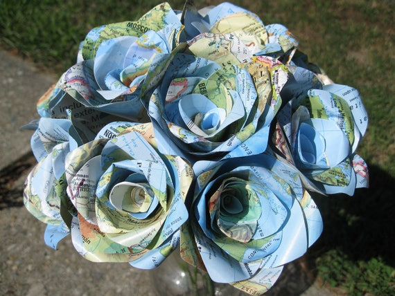 Vintage Map Paper Roses, Half Dozen. Anniversary, Birthday, Wedding Centerpiece. Mother's Day. Custom Orders Welcome.