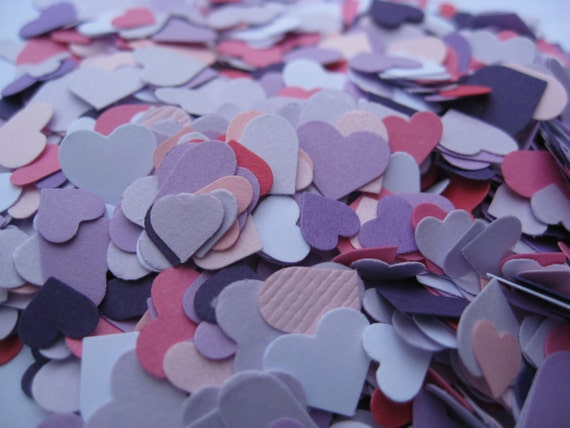 Over 2000 Mini Confetti Hearts. Purple, Lavender, Fuschia, Pink, White. Perfect For Weddings, Showers, Decorations. ANY COLOR Available.