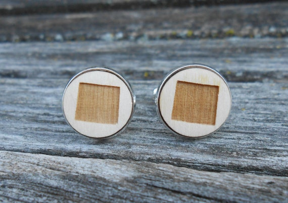 Wood STATE Cufflinks. WYOMING Laser Engraved. Wedding, Men's, Groomsmen Gift, Dad. Custom Orders Welcome. Cheyenne
