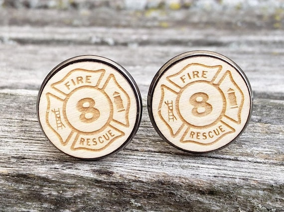 PERSONALIZED Firefighter Cufflinks. Laser Engraved. Wedding, Men's Christmas Gift, Dad. Silver Plated. Custom Orders Welcome.
