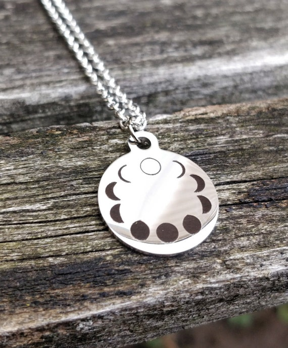 Moon Necklace. Moon Phases, Wedding Gift, Bridesmaid, Mom, Anniversary Gift. Space, Planet, Constellation