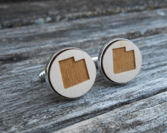 Wood STATE Cufflinks. UTAH. Laser Engraved. Wedding, Men's, Groomsmen Gift, Dad. Custom Orders Welcome. Salt Lake City