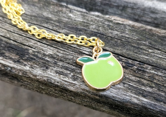 Green Apple Necklace. Gift For Teacher, Kids, Anniversary, Birthday, Christmas, Mom