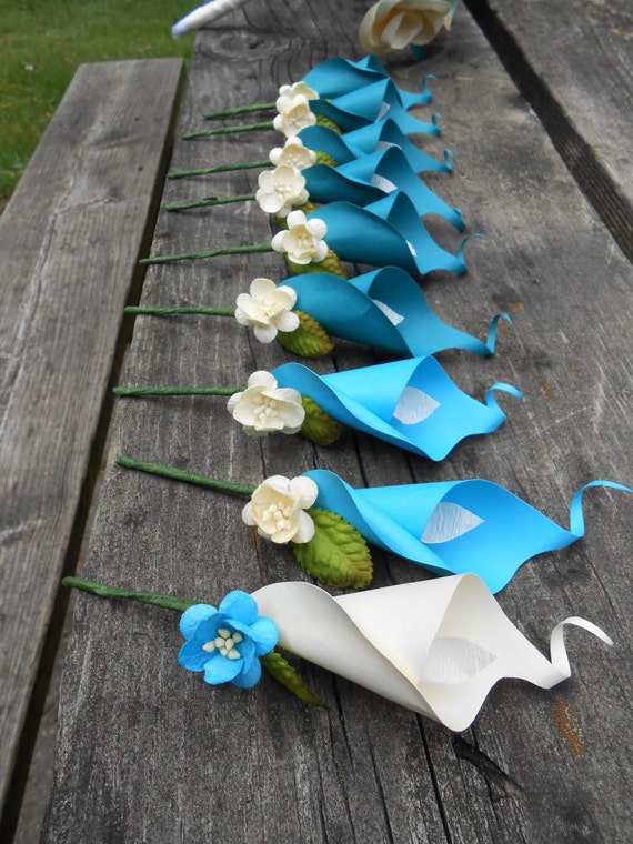 Calla Lily Boutonnieres. CHOOSE YOUR COLORS! Any Amount, Colors, Theme, Etc. Prom, Mother of the Bride, Groom, Bridesmaide, Wedding