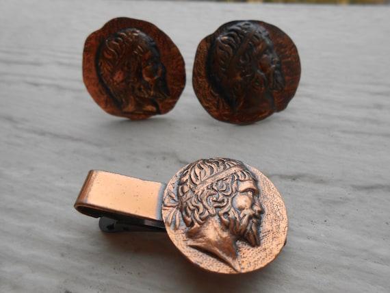 Vintage Roman Cufflinks & Tie Clip Set. Copper. Wedding, Men's, Father's Day, Birthday Gift, Dad, Anniversary, Groom