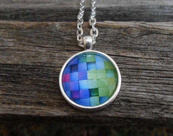 Rainbow Brick Necklace. Abstract Gift. Wedding, Men, Women, Bridesmaid Gift, Anniversary, Birthday. Silver.