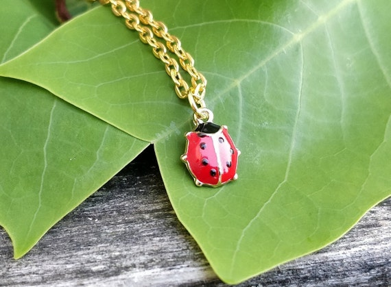 Tiny Ladybug Necklace. Gift For Mom, Anniversary Gift, Birthday, Bridesmaids, Grandma