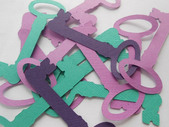 50 Skeleton Keys. 3.5 inch. CHOOSE YOUR COLORS. Decoration, Escort Cards, Wedding, Wishing Tree, Cards