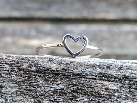 Sterling Heart Ring. Size 7. Gift For Anniversary, Kids, Birthday, Christmas, Gifts For Her. Sterling Silver
