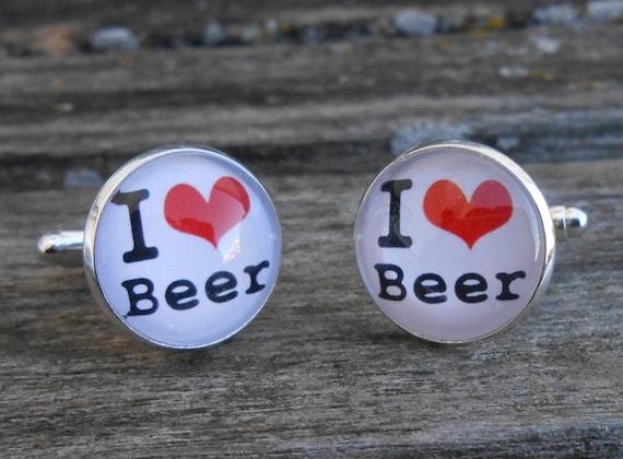 I LOVE BEER Cufflinks. Christmas, Wedding, Groom, Anniversary, Birthday, Groomsmen Gift, Dad, Christmas. Pint
