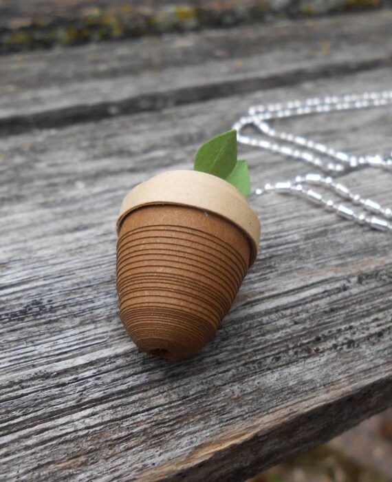 Acorn Necklace. CHOOSE YOUR COLORS. Quilled Paper. Wedding Gift, Bridesmaid, Mom, Anniversary Gift. Paper Necklace. Unique Gift