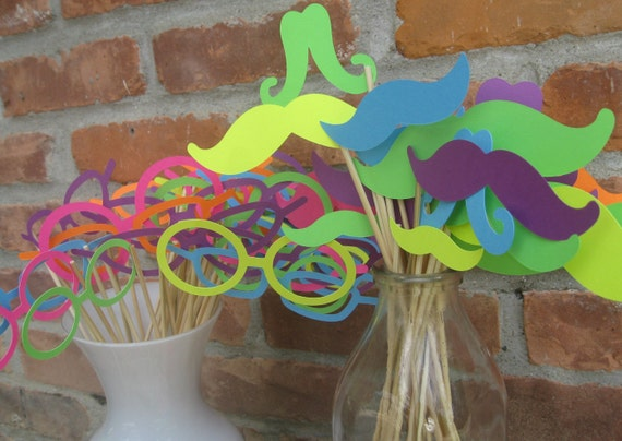 Mustache & Glasses Party Favors. Photo Prop. 50 Pieces. CHOOSE YOUR COLORS. Custom Orders Welcome.