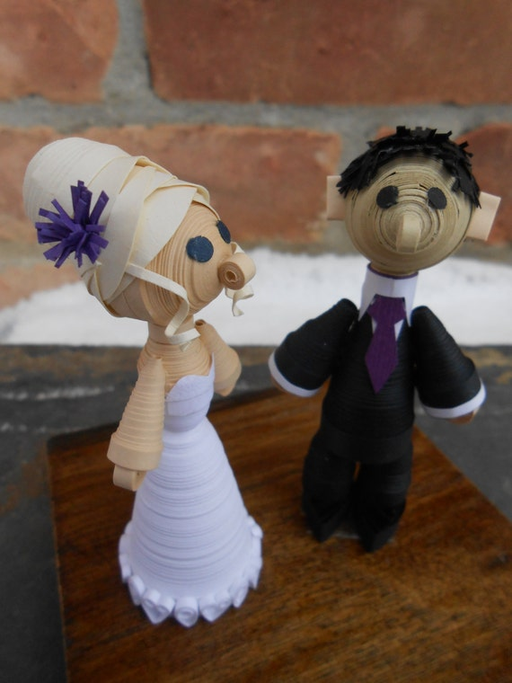 Bride & Groom Paper Cake Topper. Quilled Paper Wedding Decoration. Rustic, Shabby Chic. CUSTOM ORDERS WELCOME.